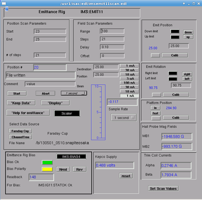 horizontal emittance scan parameters 2013